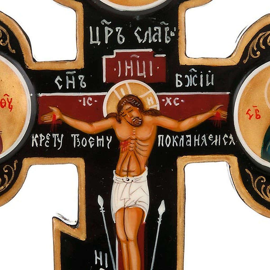 Icône croix trois lobes russe, noir 4