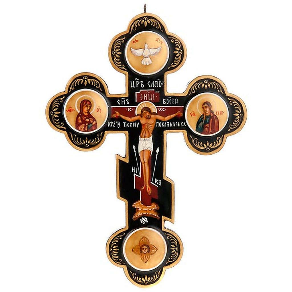 Trefoil cross Russian icon, black 4