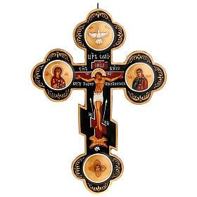 Trefoil cross Russian icon, black s1