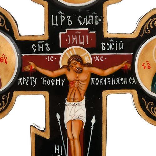 Trefoil cross Russian icon, black 3
