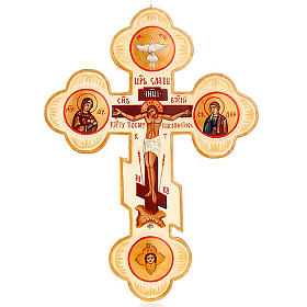 Trefoil cross Russian icon, ivory colour s1