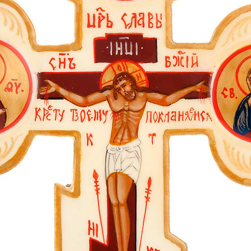 Ícone cruz em trevo russa cor de marfim 3