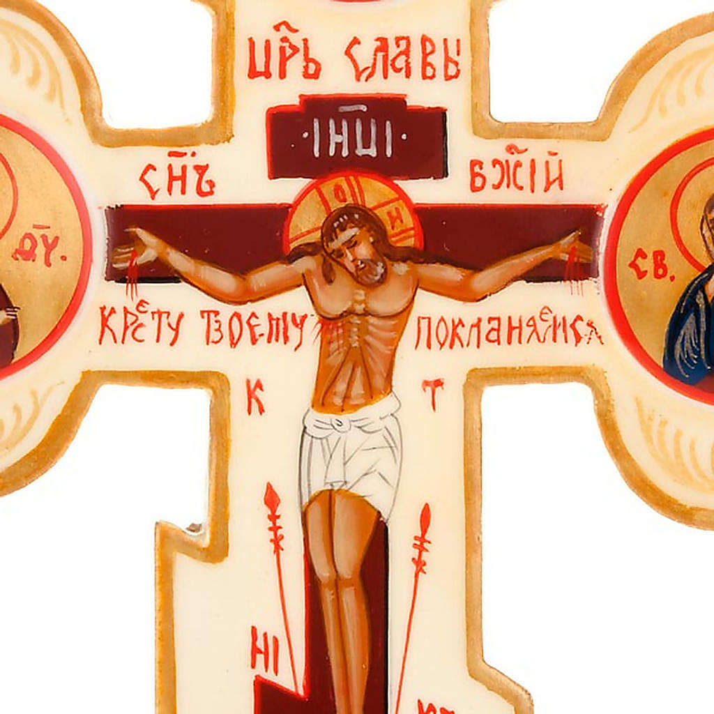 Trefoil cross Russian icon, ivory colour 4