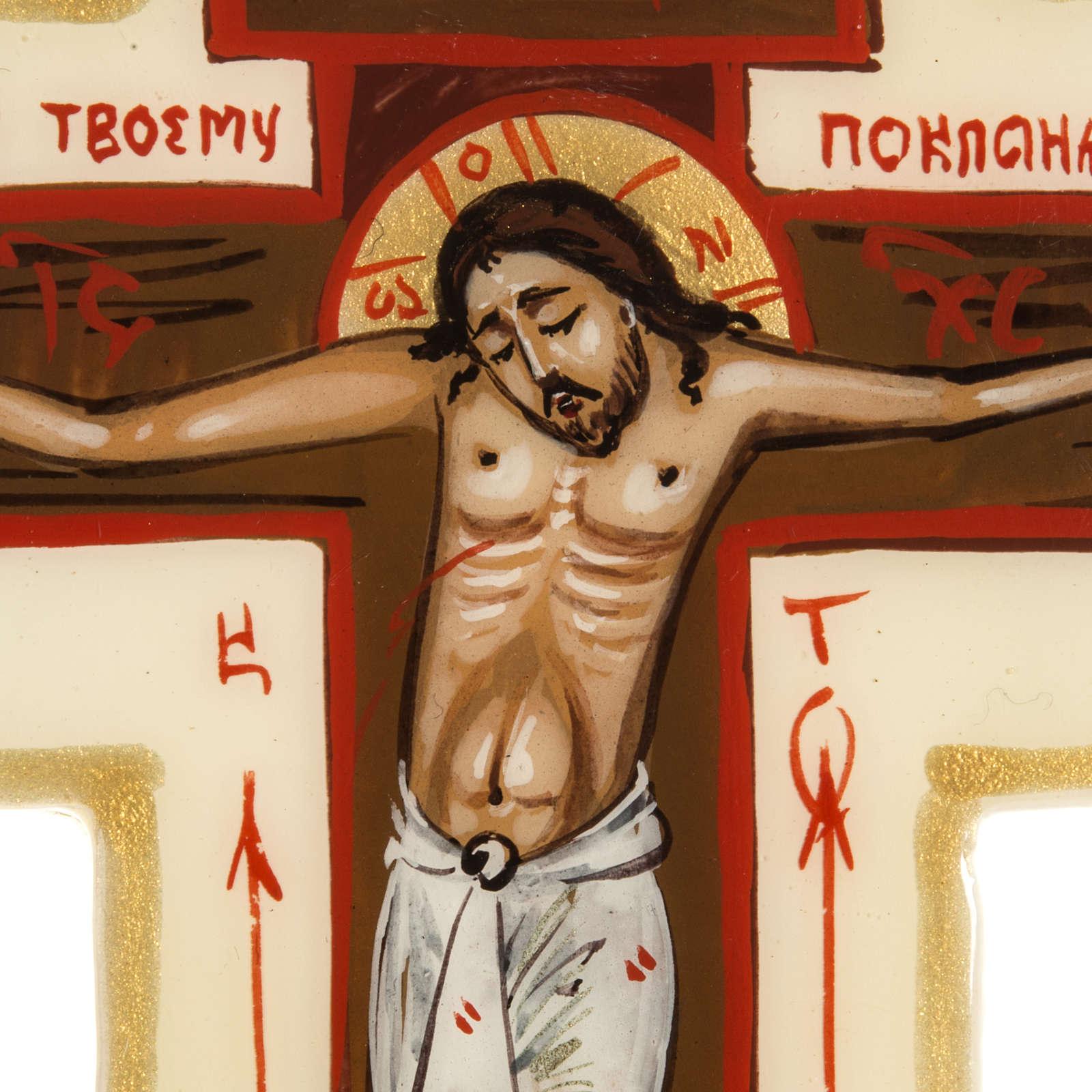 Croce icona trilobata avorio Mstjora 17x13 4