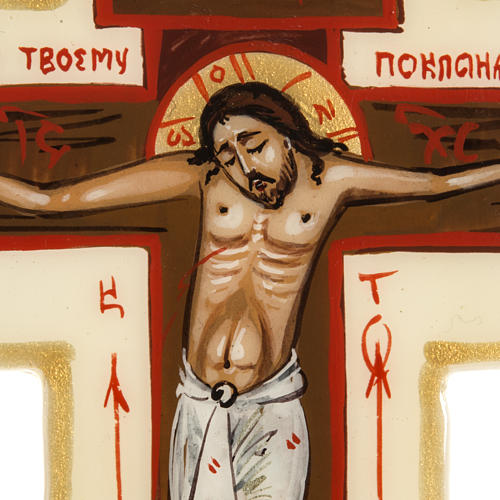 Croce icona trilobata avorio Mstjora 17x13 2