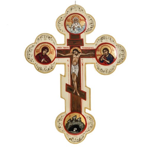 Trefoil cross icon, Mstjora, 17x13cm, Ivory colour 1