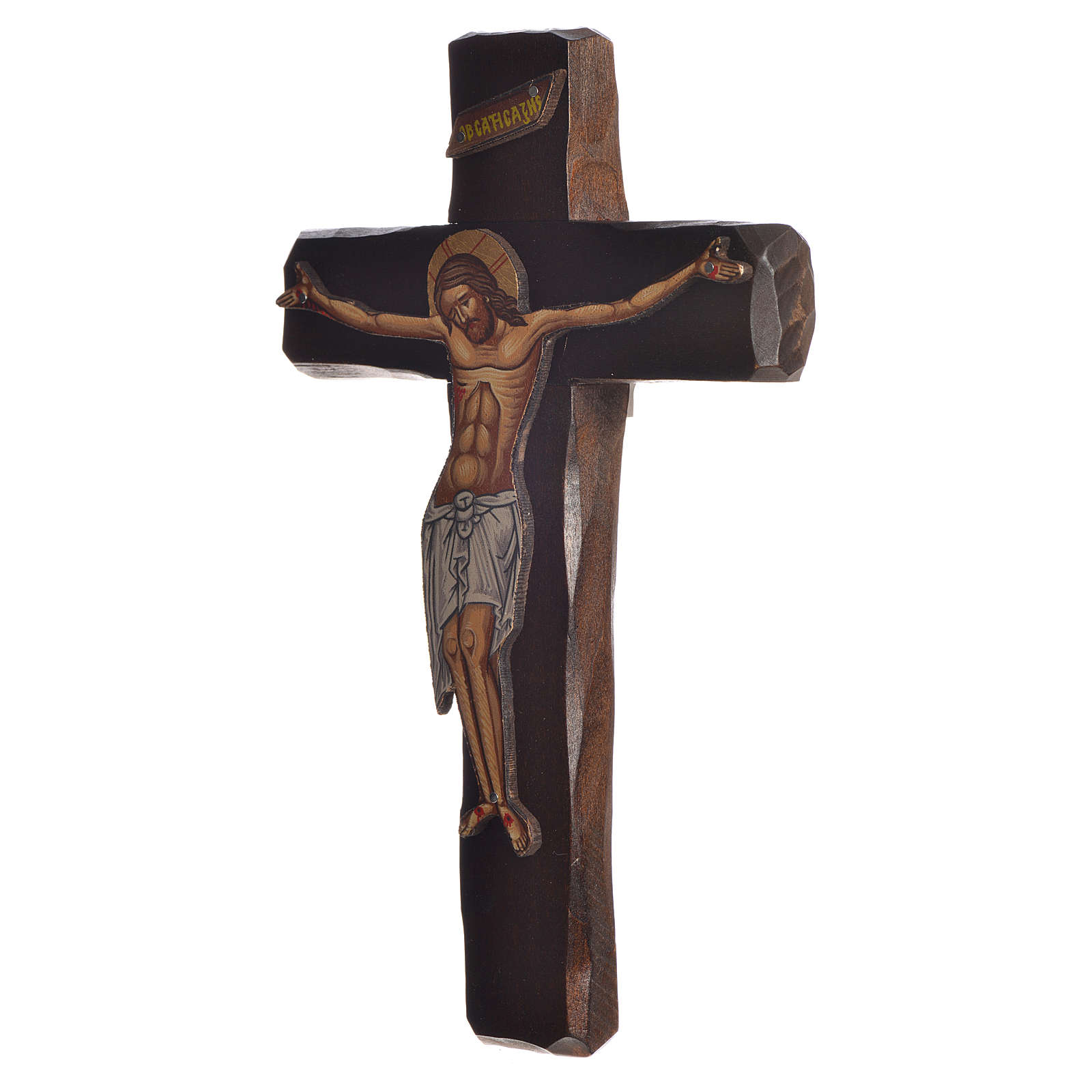 Cross-shaped icon with print on wood, Greece 22x13cm 4