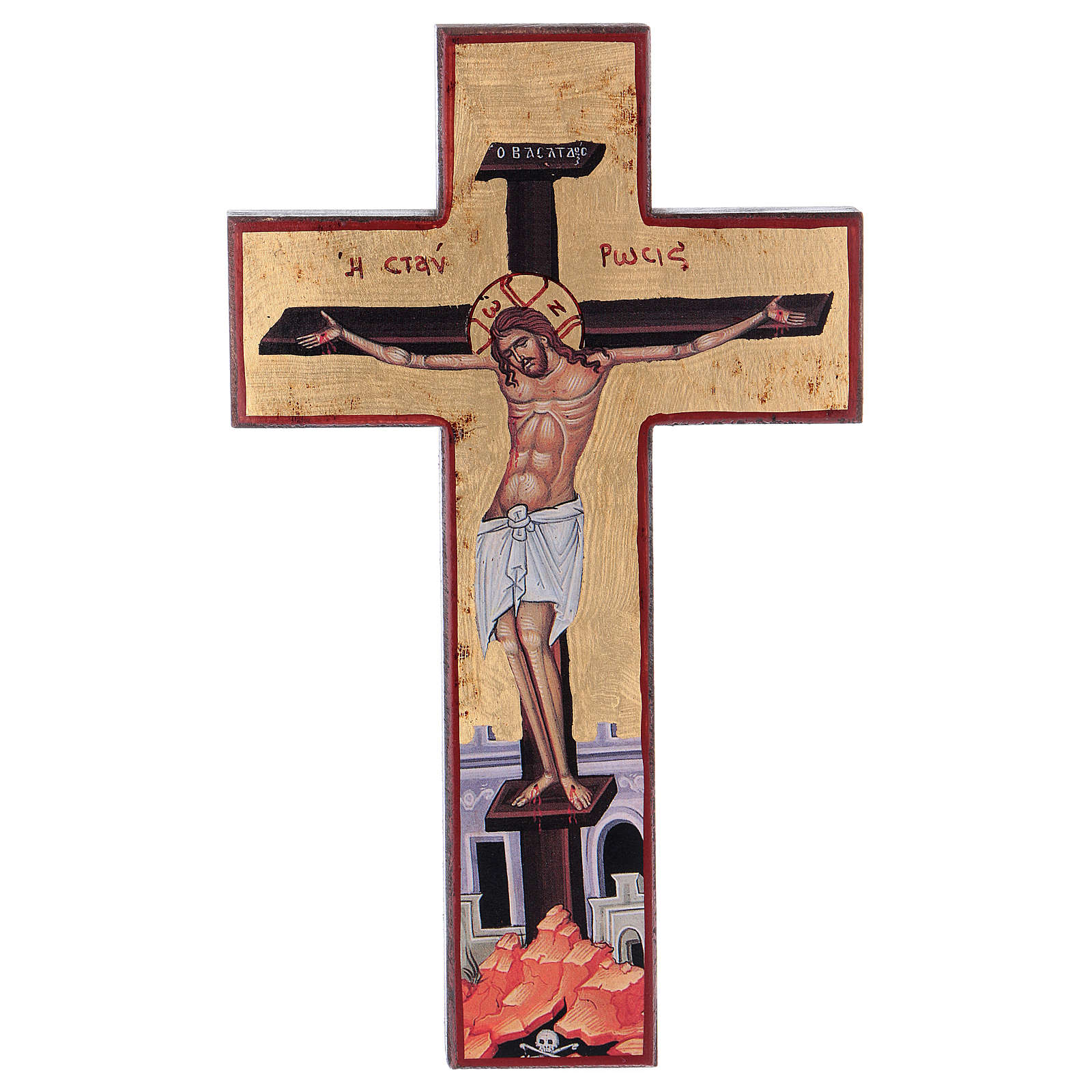 Cross-shaped icon with print on wood, Greece 4