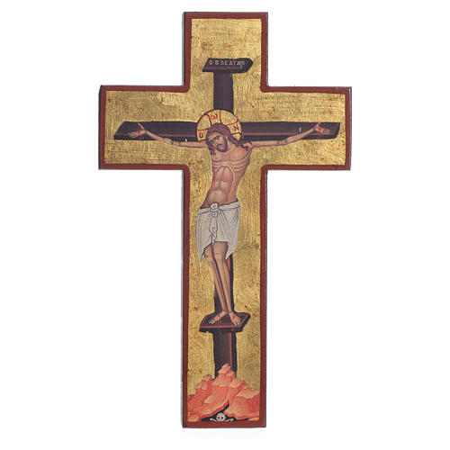 Cross-shaped icon with print on wood, Greece 1