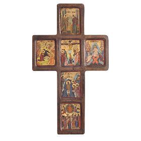 Croce Icona Misteri stampa su legno Grecia 22x36 s1