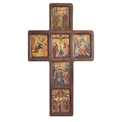 Cross icon with print of the Mysteries on wood, Greece 22x36cm 1