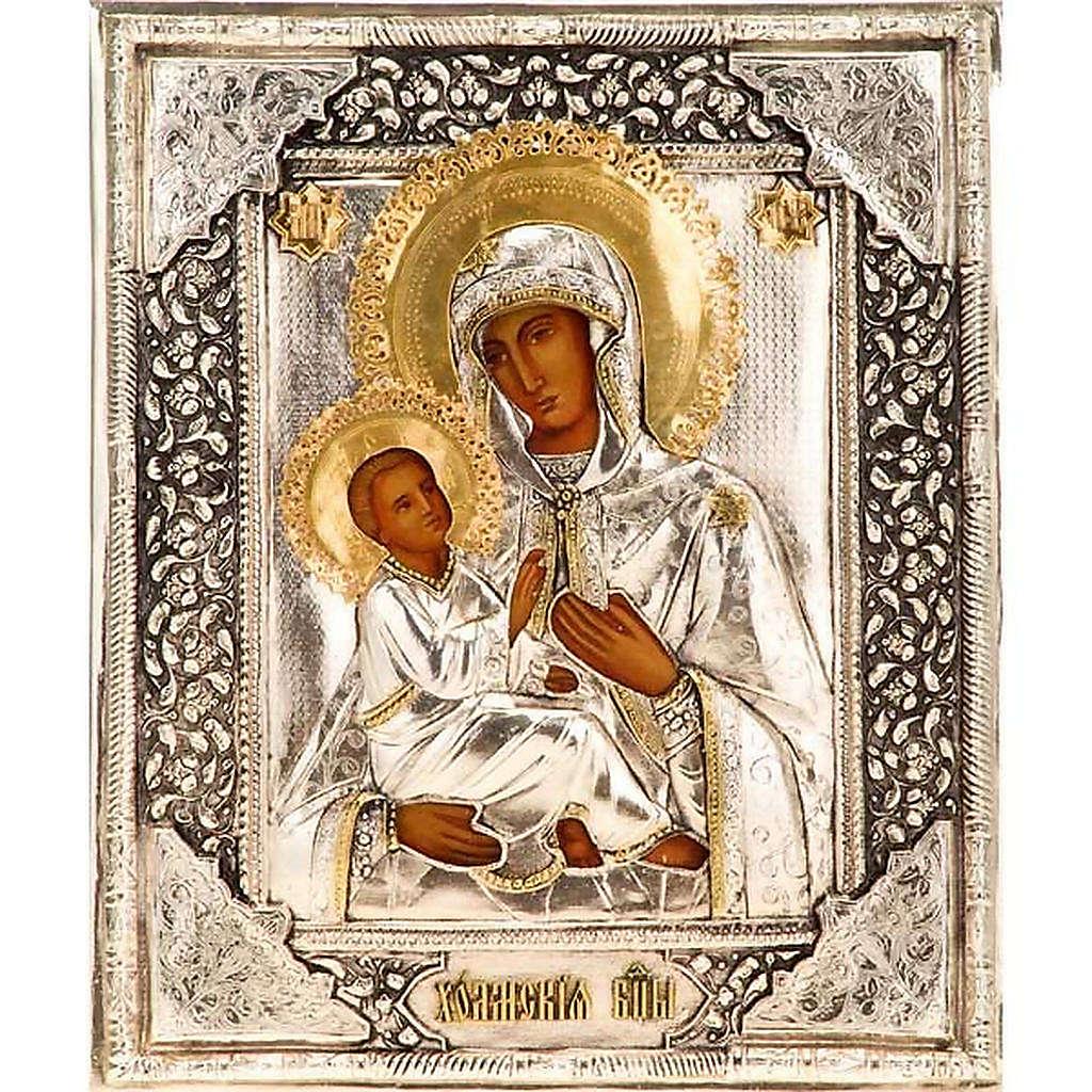 Icona Madre di Dio argento e oro 4