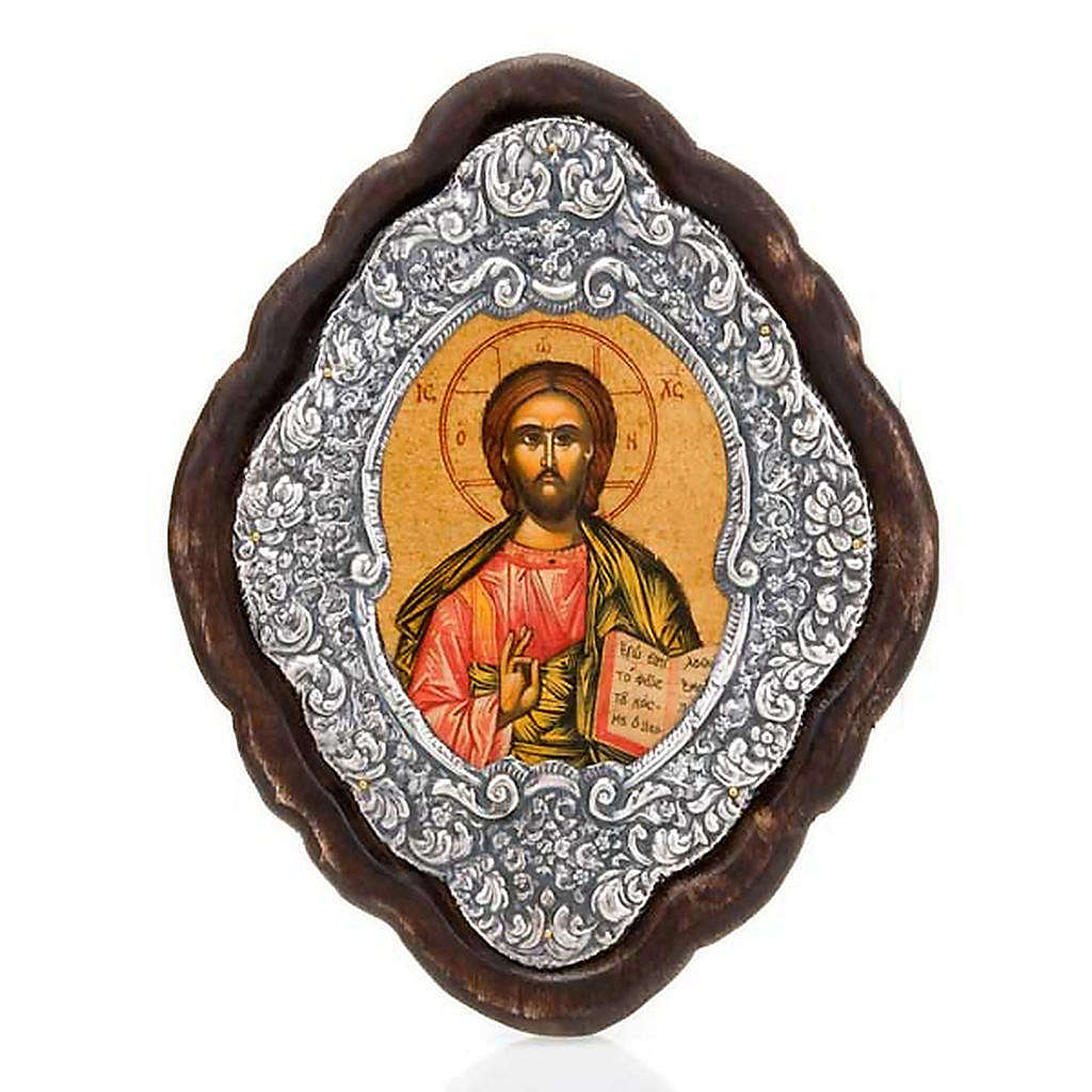 Ikone Rahmen Silber Jesus mit Buch   Online Verfauf auf HOLYART