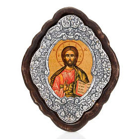 Christ Pantocrator icon, silver frame s1