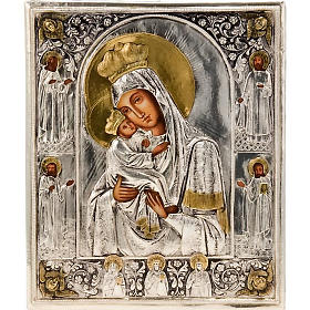 Icona Vergine di Poczajevsk argentata dorata s1