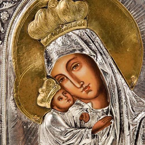 Icona Vergine di Poczajevsk argentata dorata 7