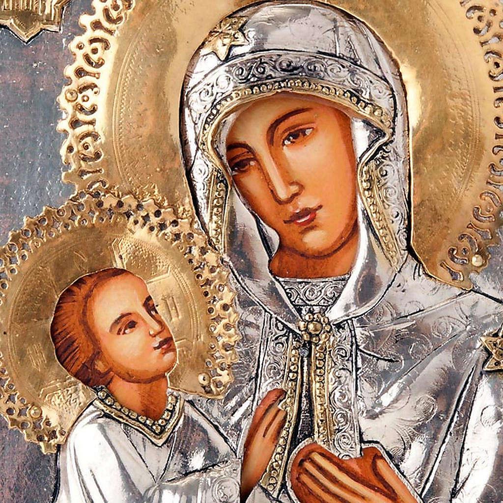 Icona Vergine di Kilskaia argentata dorata 4