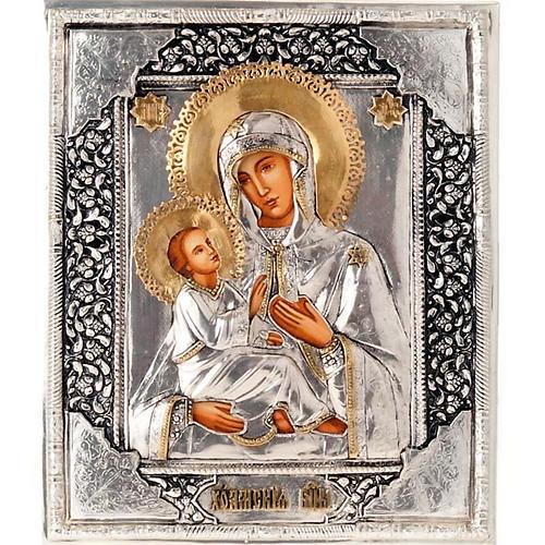 Icona Vergine di Kilskaia argentata dorata 1
