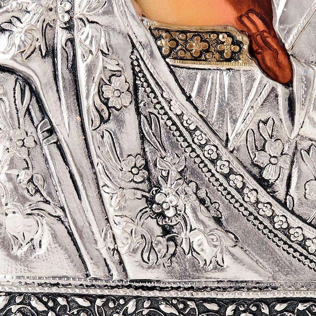 Icona Vergine di Kazan riza argentata dorata 4