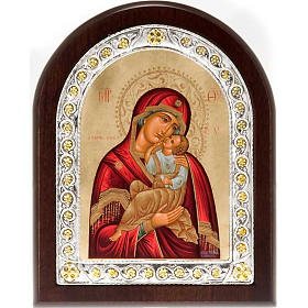 Icona serigrafata argento 950 Madonna Tenerezza s1