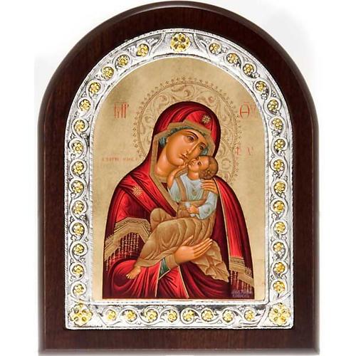 Icona serigrafata argento 950 Madonna Tenerezza 1