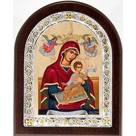Icona serigrafata argentata dorata Madonna Incoronata s1