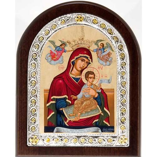 Icona serigrafata argentata dorata Madonna Incoronata 1