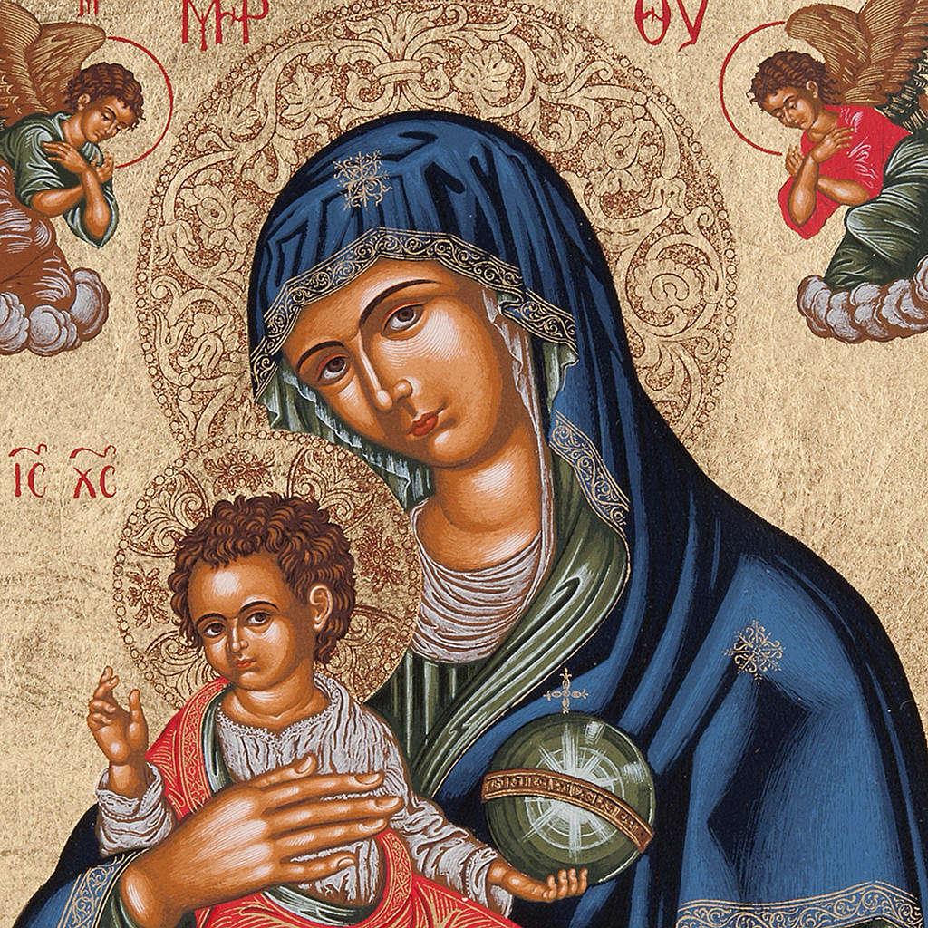 Icona Grecia Madonna con bimbo da tavolo argento 925 4