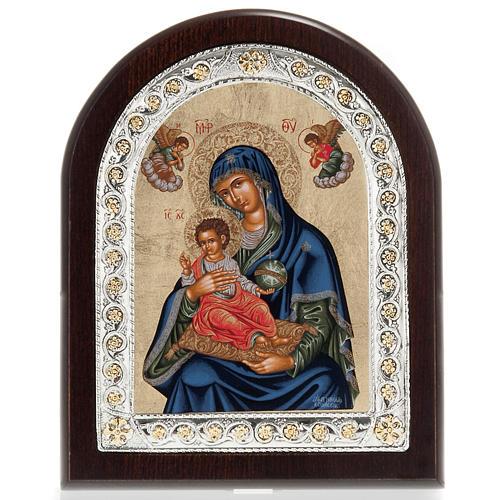 Icona Grecia Madonna con bimbo da tavolo argento 925 1