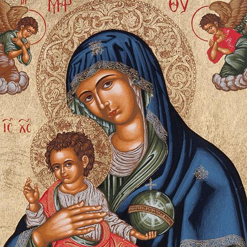 Icona Grecia Madonna con bimbo da tavolo argento 925 2