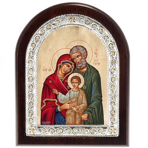 Icona Grecia Sacra Famiglia da tavolo argento 925 1