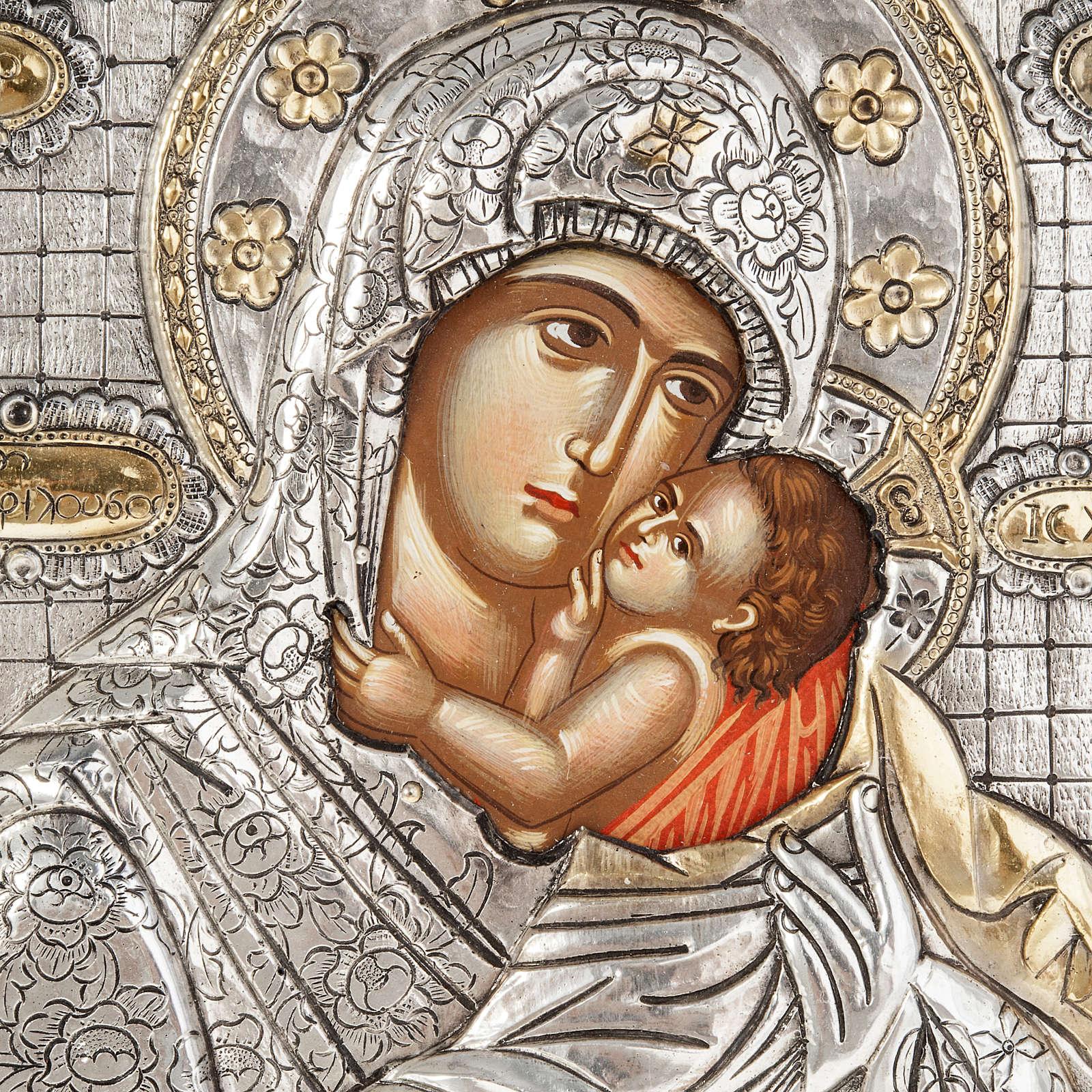 Icona Madonna con Bambino argento 950 4