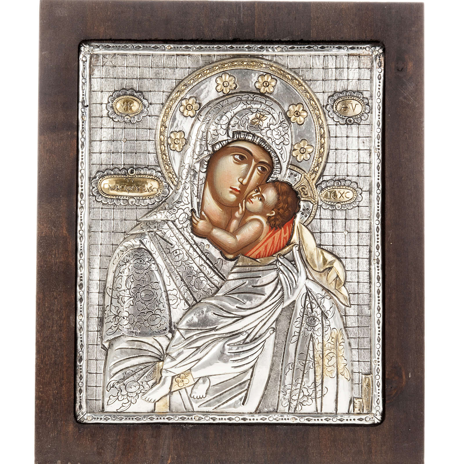 Our Lady with baby Jesus icon with silver 950 riza 4