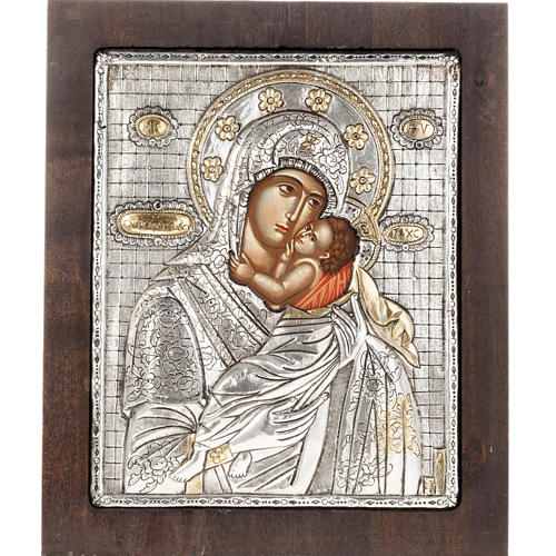 Our Lady with baby Jesus icon with silver 950 riza 1