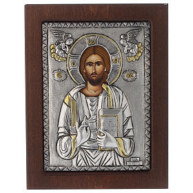Icona Gesù Pantocratore riza argento 950 s1