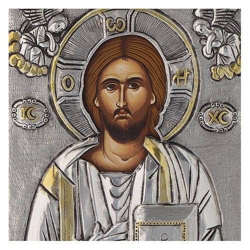 Icona Gesù Pantocratore riza argento 950 2