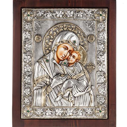 Icona Grecia Madonna Umilenie riza argento 950 1