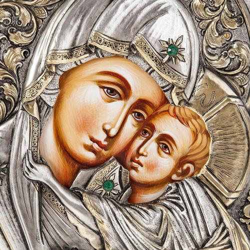 Icona Grecia Madonna Umilenie riza argento 950 2