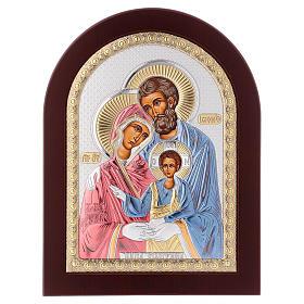 Icona serigrafata Sacra Famiglia argento s1