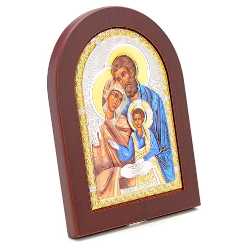 Icona serigrafata Sacra Famiglia argento 2