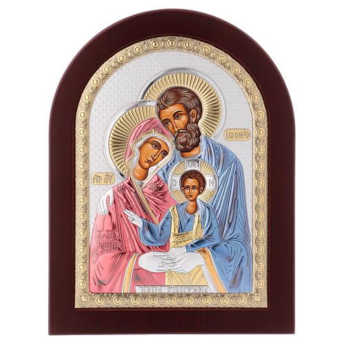 Icona serigrafata Sacra Famiglia argento 1