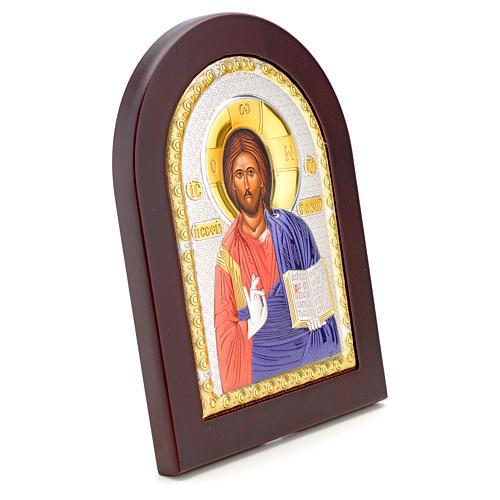 Icono serigrafia Cristo Libro Abierto plata 2