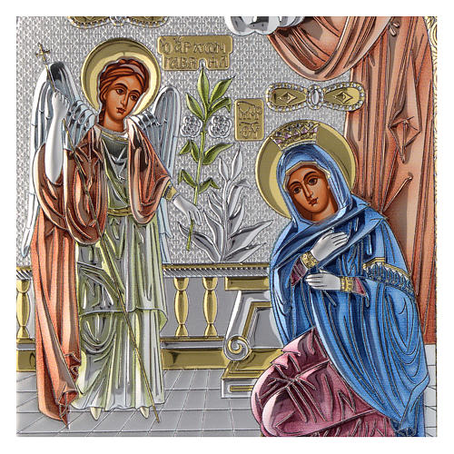 Annunciation icon in silver, silkscreen printing 2