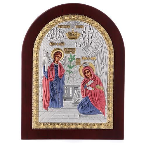Annunciation icon in silver, silkscreen printing 3