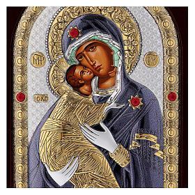 Icona serigrafata Madonna Vladimir argento s2