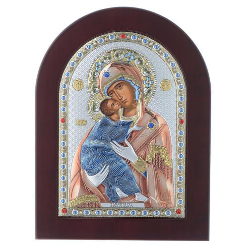 Icona serigrafata Madonna Vladimir argento 1