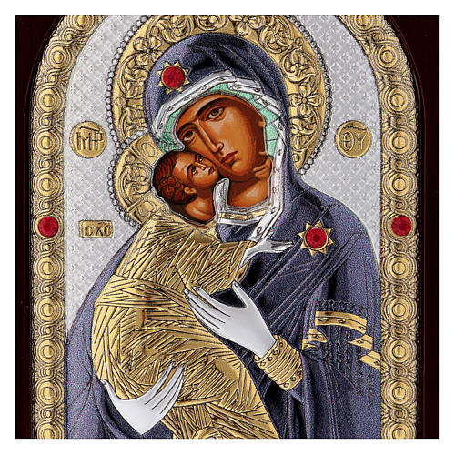 Icona serigrafata Madonna Vladimir argento 2