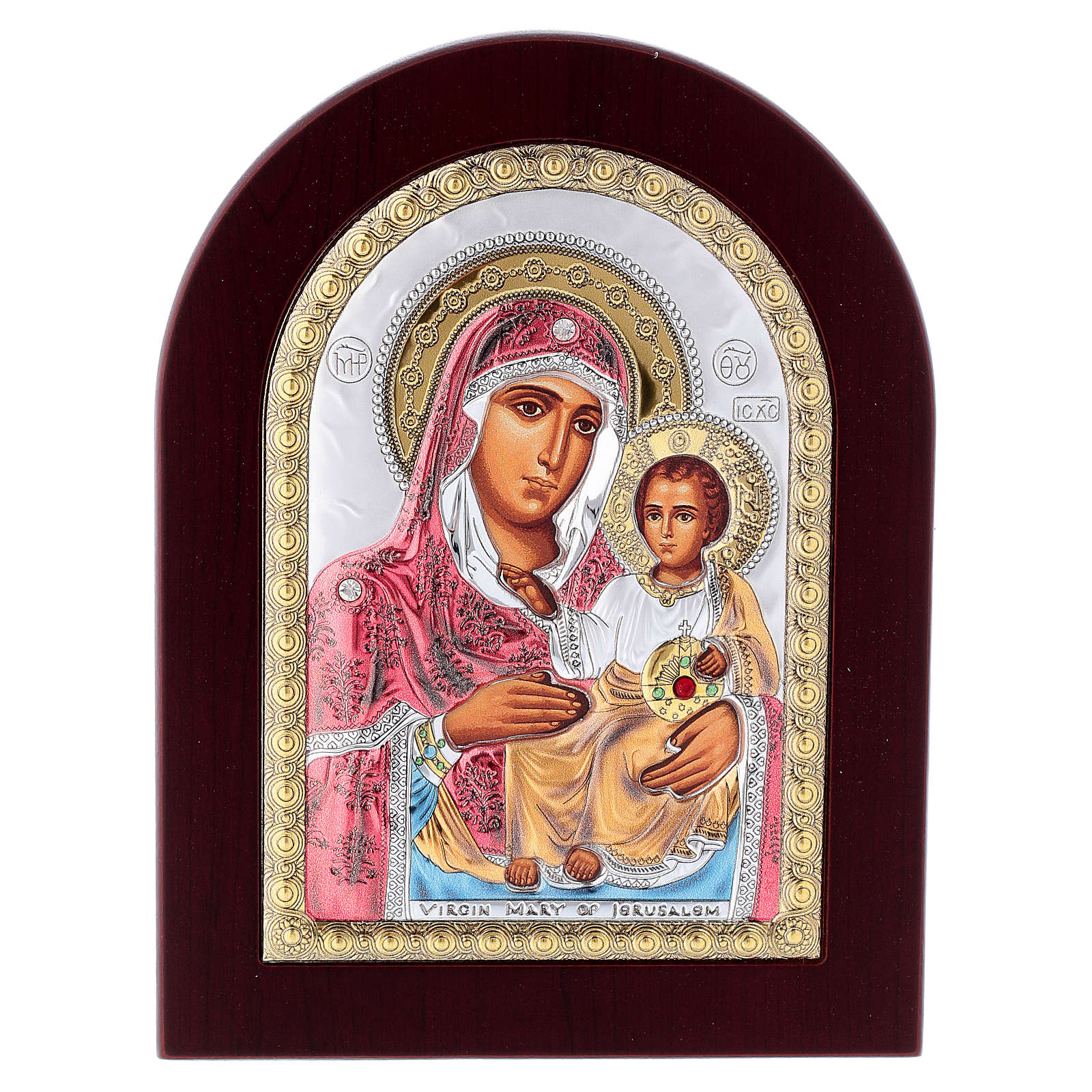 Virgin Mary of Jerusalem icon in silver, silkscreen printing 4