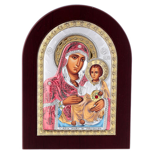Virgin Mary of Jerusalem icon in silver, silkscreen printing 1