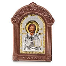 Icône sérigraphiée Christ encadrement bois s1